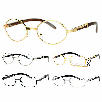 SA106 Retro Wood Buffs Vintage Style 90s Gangster Metal Frame Eye Glasses