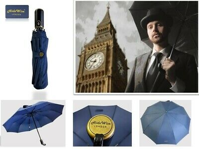 Premium Quality Umbrella Large Automatic Folding Men's Women's Unisex BLACK BLUE