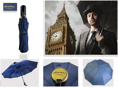 Umbrella Premium Quality Brolly by Hidewsie LONDON Folding Automatic Black Blue