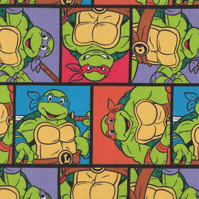 Teenage Mutant Ninja Turtles Rectangles Kids Licensed Quilt Fabric FQ or Metre *