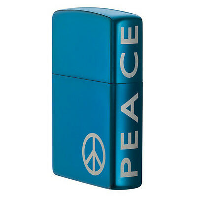 Zippo Windproof Sapphire Blue Peace Lighter, With Peace Sign, 21055, New In Box