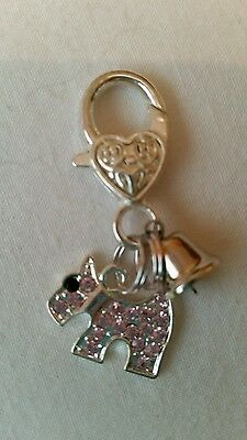 Cute Pet Tag With Pink Diamanté Scotty Dog And Silver   Bell