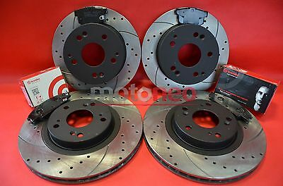 Front Rear Performance Drilled Grooved Brake Discs Pads Honda Civic Type-R Ep3