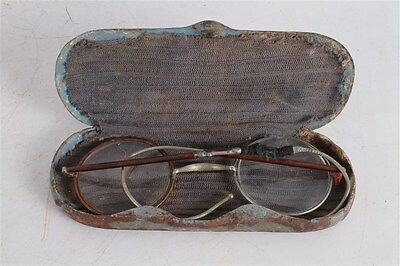 Rare Antique Vintage Old Wide Round Diopter Glasses With Original Hard Case.