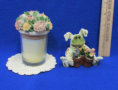 Boyds Bears Frog Folkstone Ribbet Figurine Doily & Candle in Jar w/ Lid Lot of 3
