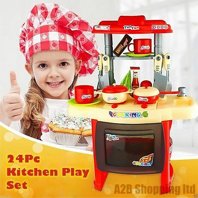 Red 24 Pcs Electronic Cooking Play Set Kids Kitchen Toy Childrens Music & Lights