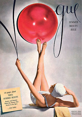 Vogue Red Ball Bathing Suit 1941 Cover Print Poster Canvas French Art