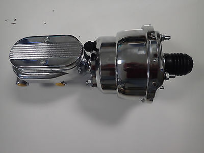 "7"" Inch Chrome Dual Diaphragm Street Rod Brake Booster And Master Cylinder"