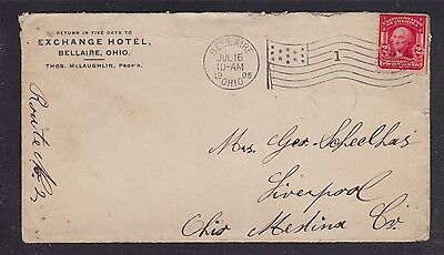 Usa 1905 Exchange Hotel Cover & Letter Bellaire Ohio To Liverpool
