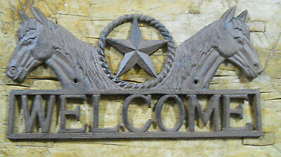 Cast Iron HORSE HEAD STAR WELCOME Cowboy Plaque Sign Rustic Ranch Wall Decor