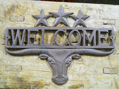 Cast Iron LONGHORN STAR WELCOME Cowboy Plaque Sign Rustic Ranch Wall Decor BULL