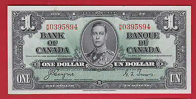 ✪ 1937 Short Run  WM 0395894 Canada One 1 Dollar Note Coyne Towers   UNC