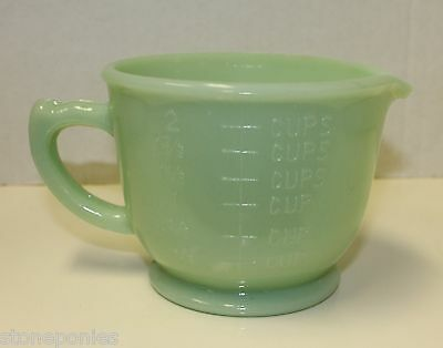 New Jade Green Depression Style Glass Mixing Bowl Measuring Cup 2 Cup Retro