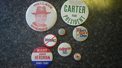 Carter For President Button - Collection Lot Of 8 Political/whymsical/political