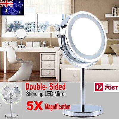 Beauty Bathroom Double Side 5x Magnifying Makeup Cosmetic Mirror & LED Light AU