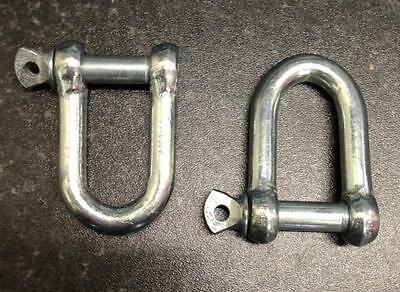"2 x Extra Large M12 D SHACKLES 12mm 1/2"" Towing U Loop Pin Fastener Heavy Duty"