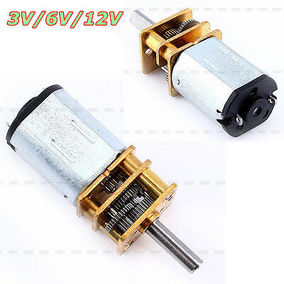 Newest DC3V 6V 12V N20 Mini Speed Reduction Gear DC Motor w/ Metal Gearbox Wheel