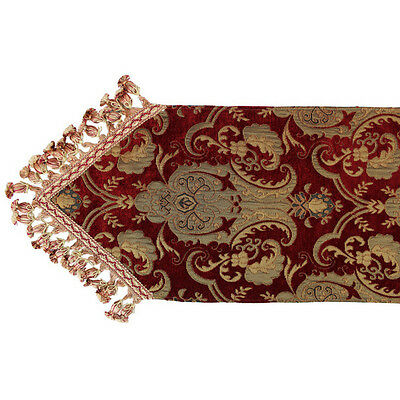 Red Table Runner Floral Vase Design Polyester 13 Wide x 108 Long Spot Clean, New
