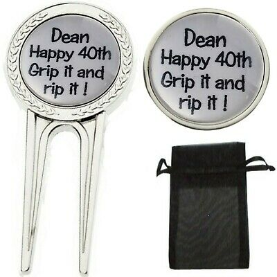 Custom Personalised Birthday Golf Ball Marker Divot Tool Pitch Repairer Hat Clip
