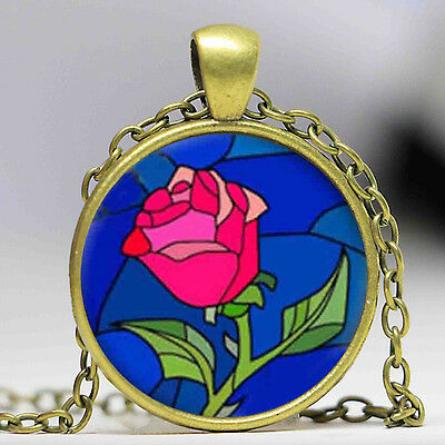 Vintage Enchanted Red Rose Glass Pendant Necklace Beauty And The Beast