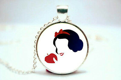 Snow White Red Poison Apple Glass Silhouette Picture Pendant Silver Necklace