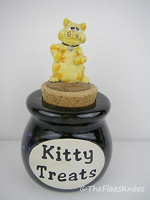 KITTY TREATS JAR with Cat on Lid Crock