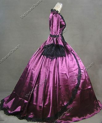 Renaissance Princess Gothic Victorian Satin Dress Ball Gown Theater Costume 150