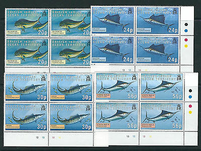 BRITISH INDIAN OCEAN TERRITORY BIOT 1995 GAME FISH (Sc 168-71) plate blocks MNH