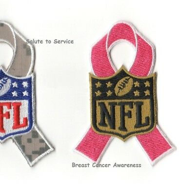 NFL BREAST CANCER AWARENESS PINK RIBBON as seen on the Field 'n Player's Jersey