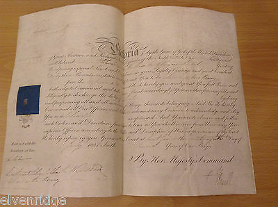 1838 Queen Victoria Signed Certificate Appointment to Lieutenant Charles Wyndham