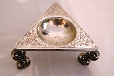 Antique triangular historism silver spice / salt bowl, est. ~ 1800 - 1850