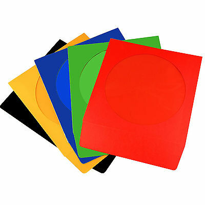 200 CD Coloured Paper Sleeves with Window and Flap - 200 pack