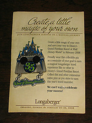 Rare Longaberger Incentive Award Disney Castle Trip Dangle Lapel Pin 2007 / 2008