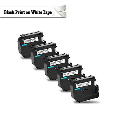 US SHIP 5PK Black on White Label Tape for Brother P-touch PT80 PT70 M-K231 MK231