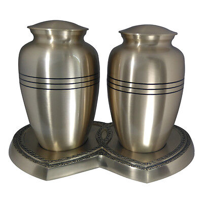Large Urns for Human Ashes, Classic Three Bands Companion Cremation Urn Set