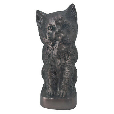 Urn for Pet Memorial Ashes, Sitting Cat Brown Color Aluminium Pet Cremation Urn