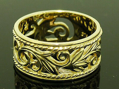 R066- Genuine 9ct Heavy Solid Gold Filigree Botanical WIDE Band Ring size P