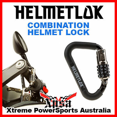 "Helmetlok Combination Motorcycle Helmet Lock Black Rubber Fits Up To 1.5"" Bars"