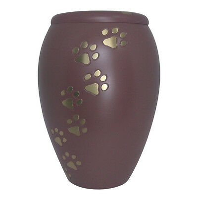 Urn for Pet Ashes, Golden Paw Prints Pink Memorial Urn