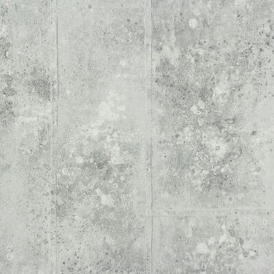Textured Rustic French Grey & Silver Wide Panelling Concrete Look Wallpaper -NEW