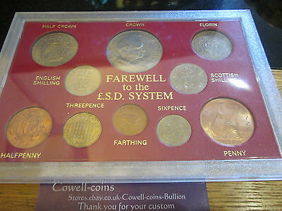 Churchill Farewell To £Sd 10 Coin Set Crown Florin Farthing Sixpence