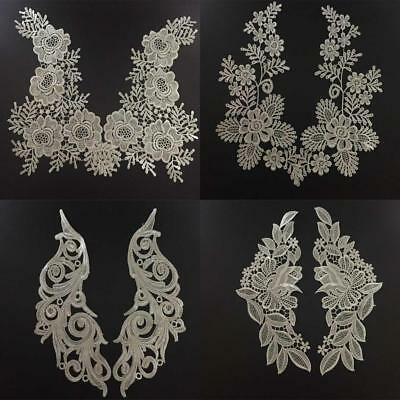 4x Charming Flower Lace Collar Neckline Choker Applique Sewing Trim DIY White