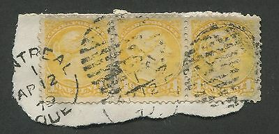 CANADA #35vii USED STRIP OF 3 VF ON PIECE PERF 11-1/2 x 12