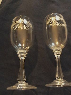 Bride and Groom Clear Wedding Goblets
