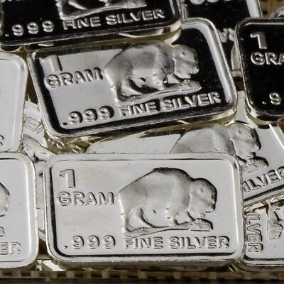 Lot 30 X 1 Gram  .999  Fine Pure Silver Bar Bullion  /  Buffalo     S6PT202 oz