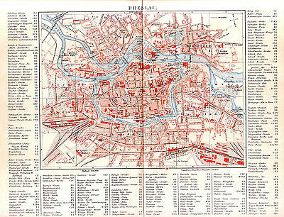 1890   POLAND WROCLAW Breslau CITY PLAN Antique Map