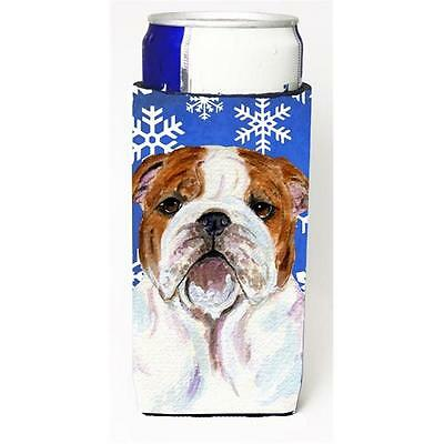 Bulldog English Winter Snowflakes Holiday Michelob Ultra bottle sleeve for Sl...