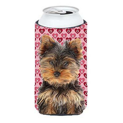 Hearts Love and Valentines Day Yorkie Puppy & Yorkshire Terrier Tall Boy bott...