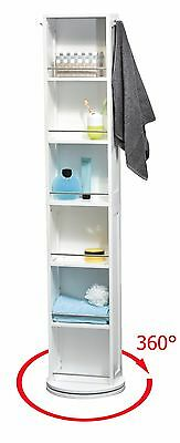 Evideco Swivel Storage Cabinet Organizer Free-Standing Mirror 6 Shelves 2 Hooks