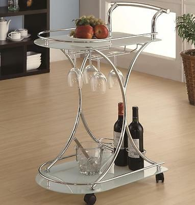Kitchen Wine Serving Cart with 2 Frosted Glass Shelves by Coaster 910002